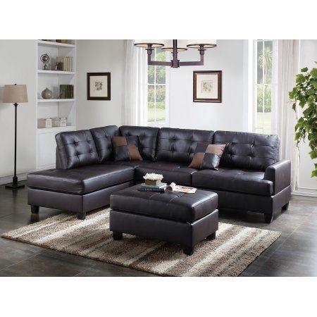 Mathew Sectional Sofa Set Espresso Faux Leather Sofa Chaise