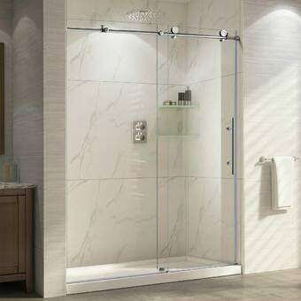 Trident 48 X 76 Single Sliding Frameless Shower Door Frameless Shower Doors Shower Doors Chic Bathrooms