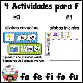 Letra F Rompecabezas Fa Fe Fi Fo Fu Letra F Silabas Letras