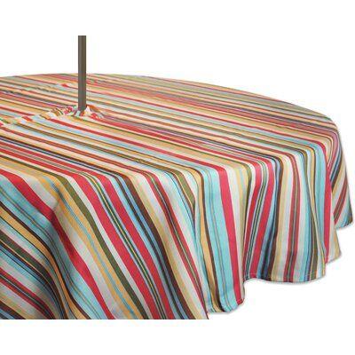 Highland Dunes Dominik Summer Stripe Outdoor Umbrella Tablecloth