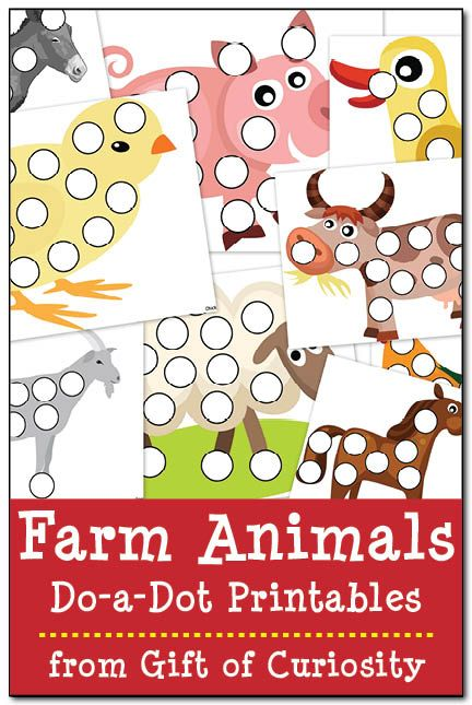 Farm animal do-a-dot printables - Gift of Curiosity