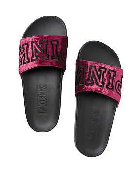 b0b4cee824e76 Velvet Single Strap Slides | My style in 2019 | Pink sandals, Cute ...