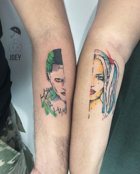 joker, joker tattoo, harley quinn, harley quinn tattoo, suicide squad, suicide squad tattoo, portrait tattoo, couples tattoo, brushstroke, brushstroke tattoo, color, color tattoo, colorful, colorful tattoo, color work, color work tattoo, colorwork, colorwork tattoo, tat, tattoo, tattoos, ink, inked, brooklyn, brooklyn tattoo, greenpoint, greenpoint tattoo, nyc, nyc tattoo