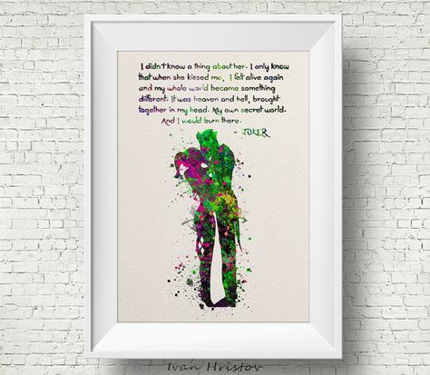 Joker and Harley Quinn Inspired Quote Purple Green by IvanHristov