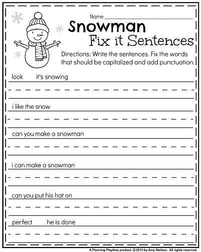 Punctuation Worksheets For Kindergarten January Kindergarten Worksheets In 2020 January Kindergarten Kindergarten Worksheets Writing Sentences Kindergarten
