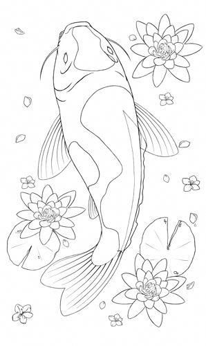 Realistic Coloring Pages Koi Fish Tattoo Coloring Pages Koifishcolors Koi Malerei Ausmalbilder Steinmalerei