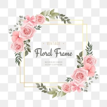 Watercolor Floral Flower Frame Golden Background Floral Clipart Pattern Flower Png And Vector With Transparent Background For Free Download Flower Frame Floral Background Flower Frame Png