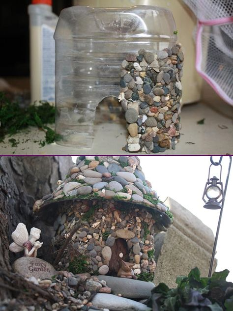 DIY Stone Fairy House from Plastic Bottle Tutorial  |WWW.FabArtDIY.com  #Crafts, #Garden