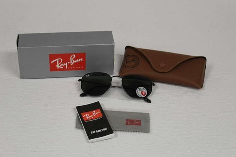 60afe001a4b Ray Ban Men s Sunglasses Hexagonal Polarized RB3548N 002 58 Black Green (eBay  Link)