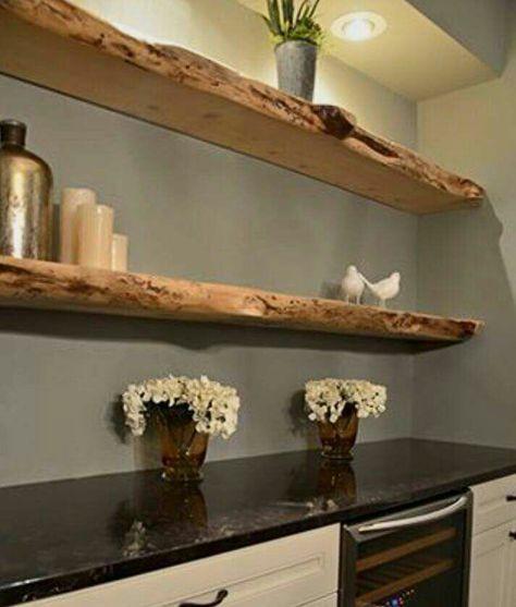 Mensole legno   Mensole sospese cucina, Bar in casa e Idee ...