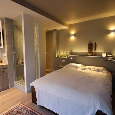 Mini salle d\'eau dans une chambre | Idées pour la salle de bain ...