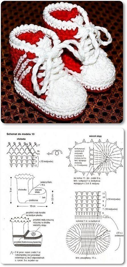 рукоделие | Booties crochet, Crochet chart and Baby booties