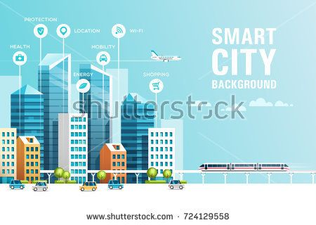 Urban Landscape With Infographic Elements Smart City Modern City Concept Website Template Vector Illustration Urban Landscape Smart City Eco City
