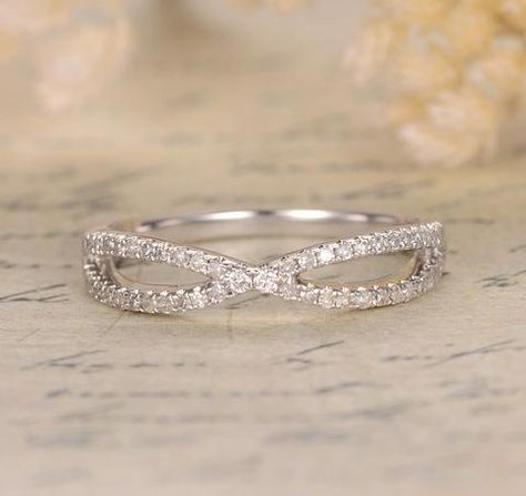 Pave Diamond Wedding Band Half Eternity Anniversary Ring 14K White Gold Curved