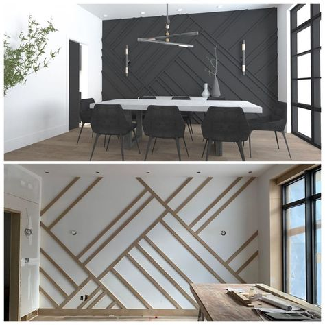 Family Room Walls, Accent Walls In Living Room, My Living Room, Dining Room Feature Wall, Japanese Interior, Home Upgrades, Home And Away, Apartment Design, Bedroom Wall