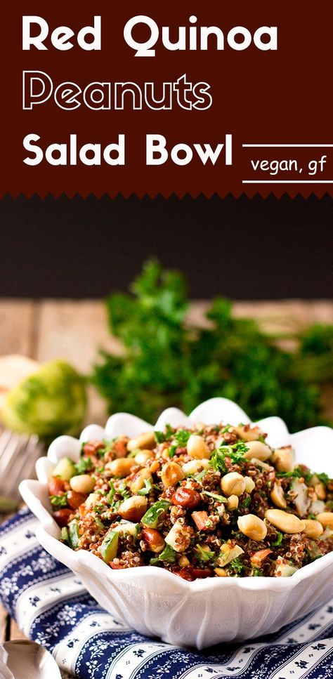 This red quinoa salad bowl is quick and easy to make. It is infused with Asian flavors. With the addition of roasted crunchy peanuts, it is irresistible. #peanutsalad #saladrecipes #quinoasalad #weightwatchers #loseweightquick