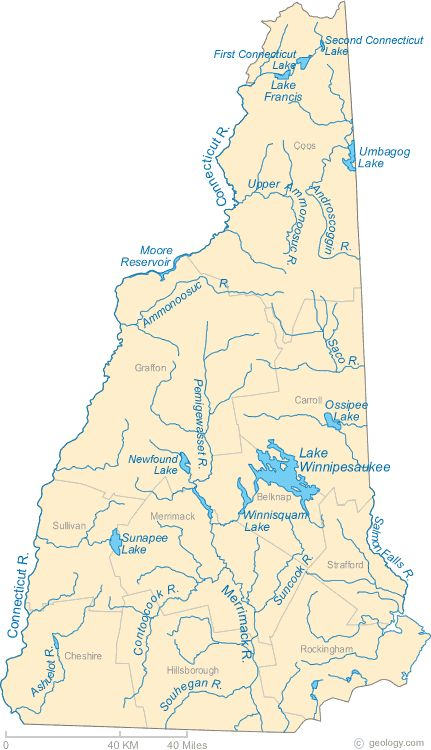 New Hampshire Lakes and Rivers Map  New England Maps  Pinterest