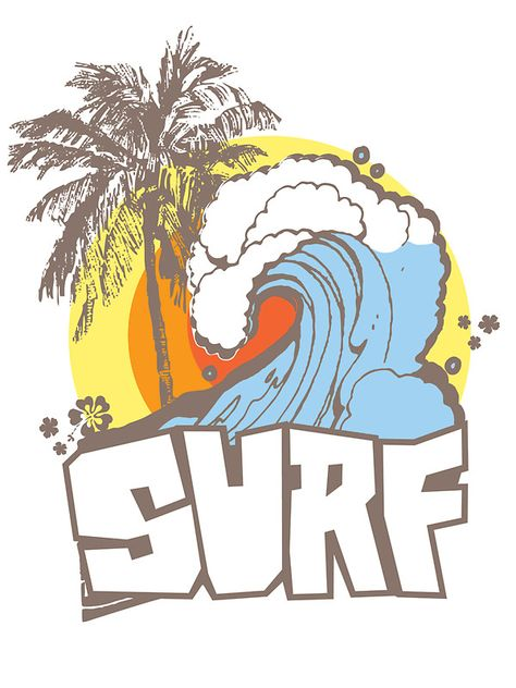 'Retro Surf T-Shirt Design' Sticker by keepers