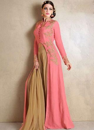 Pink Beige Embroidery Work Georgette Chiffon Designer  Fancy Anarkali Suit http://www.angelnx.com/Salwar-Kameez