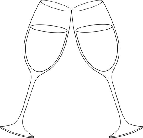 Champagne Glasses Line Art Free Clip Art Wine Glass Images Glass Stencil Button Art