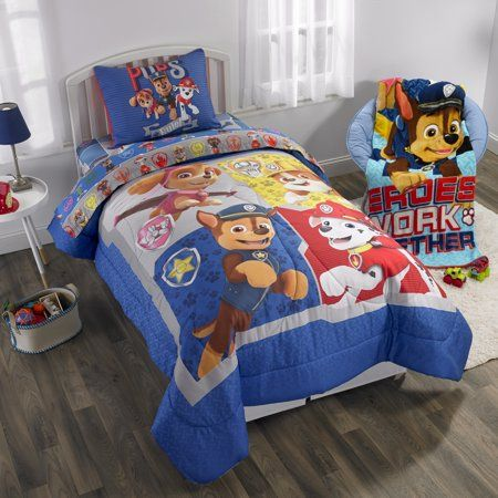 Paw Patrol Bed In A Bag Kids Bedding Bundle Set 5 Piece Full Walmart Com Kids Bed Sheets Bed In A Bag Reversible Bedding