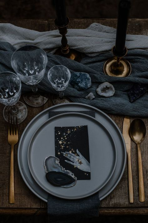 Celestial Wedding table setting. Styling by Fig&Forest. Photography by Allegrafi...