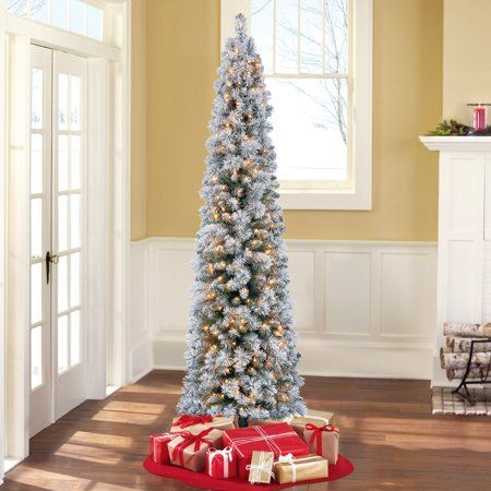 Holiday Time Pre Lit 7 Colorado Flocked Pencil Artificial Christmas Tree Clear Lights Homedecor Pencil Christmas Tree Flocked Christmas Trees Christmas Tree