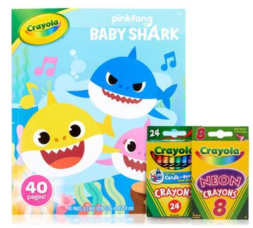Baby Shark Coloring Set With Crayons Crayola Com Crayola In 2020 Kids Coloring Books Crayon Set Coloring Books