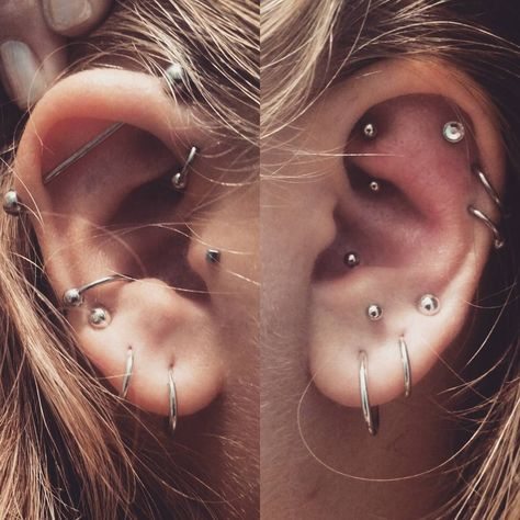 """""""Allllright so I think I'm done... just got an outer and forward helix done today (one on each side cuz apparently I don't wanna sleep comfortably the next…"""" Industrial rook lobe triple anti-tragus tragus forward helix cartilage conch"""