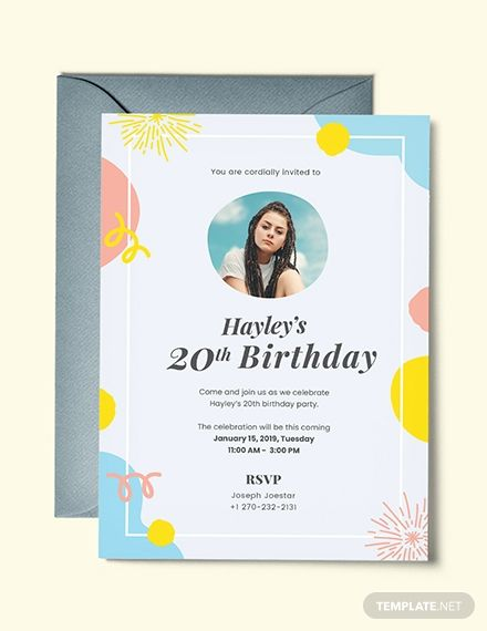 Birthday Invitation Template With Photo Free Pdf Word Doc Psd Apple Mac Pages Illustrator Publisher Outlook Birthday Invitation Card Template Party Invite Template Invitation Template