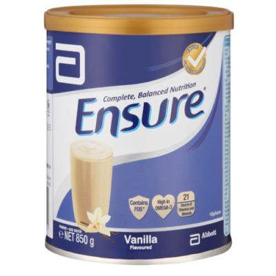 حليب انشور Ensure مكمل غذائي غني بالبروتينات والسعرات الحرارية Nutrition Vanilla Bottle