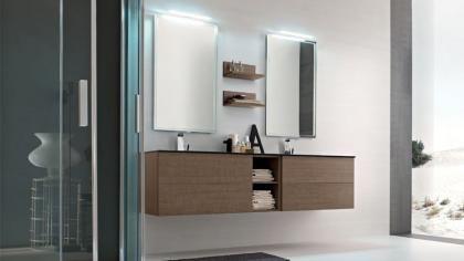 mobile bagno in melaminico doppio lavabo milano | mobile bagno ... - Bagni Moderni Con Doppio Lavabo