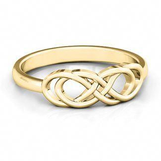 10k Yellow Gold Infinity Knot Ring Jewlr Thumbrings