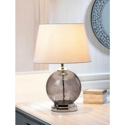 Set Of 2 Gray Crackled Glass Orb Table Lamp W Silvery Neutral Silk Fabric Shade 849179035549 Ebay Table Lamps For Sale Grey Table Lamps Table Lamp