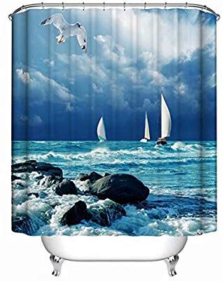 Amazon Com Kanatsiu Seagulls And Sailboats Shower Curtain With 12