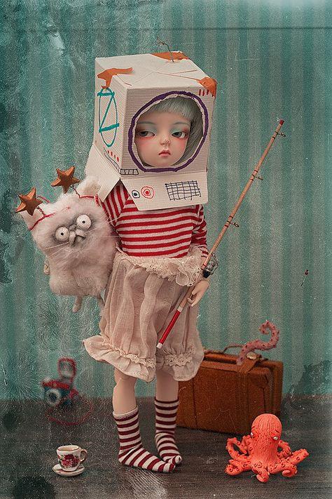 bdj doll clothes anime Wigs Collections by Sara Amaktine Photography Ooak Dolls, Blythe Dolls, Art Jouet, Art Fantaisiste, Art Mignon, Arte Horror, Lowbrow Art, Creepy Dolls, Toy Art
