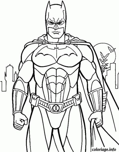 Coloriage Batman De Face Dessin A Imprimer Batman Batman Anime