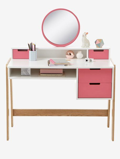 Bureau Coiffeuse Special Primaire Colors Blocs Blanc Rose Bois Vertbaudet Bureau Coiffeuse Bureau Bois Coiffeuse