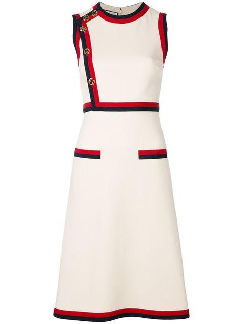 686b3f5486b Shop Gucci Web trim dress