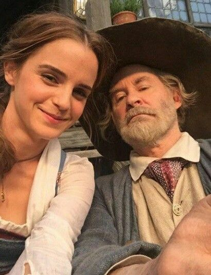 Emma Watson And Kevin Kline As Belle And Her Father Maurice From
