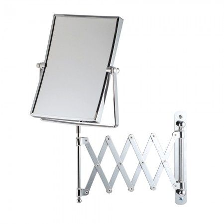 Bathroom Origins - Square Extendable Magnifying Wall Mirror - Chrome