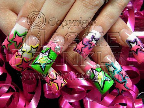 hand painted nail art on flared acrylic nails.