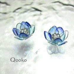 蓮の花のピアス 水彩 青 蓮の花 フラワージュエリー マニキュアフラワー