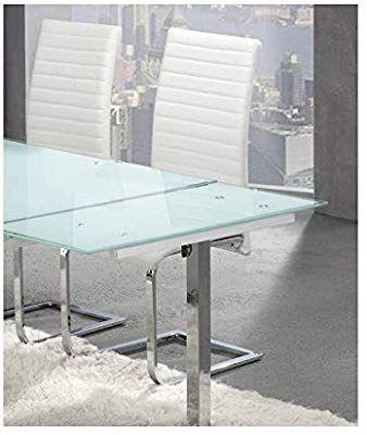 Mesa Comedor Extensible De Cristal Blanco Templado 140x90 Cm Cerrada