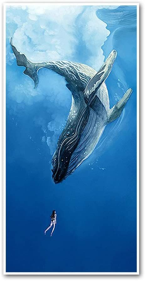 Teerwere Decorative Paintings Canvas Wall Art Painting Whale and Girl Wall Pictures Decor and Modern Home Decor Decorative Paintings for Living Room (Color : Whale, Size : 50x100cm)