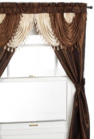 Amazon Com Regal Home Collections Amore 54 Inch By 84 Inch Window Set With Attached Valance Brown Cool Curtains Curtains Living Room Curtain Decor