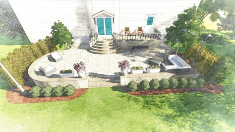 Custom landscape render of a small backyard with new patio and - gartenplanung software kostenlos deutsch