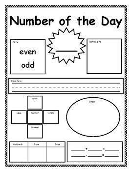 Number Of The Day Worksheet Choose A New Number Each Day And