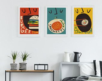 Retro Food Art Set Of 3 Kitchen Art Print Foodie Gift Brother Sister Wall Decor Posters Sushi Burger Sp Retro Prints Illustration Print Colorful Wall Art