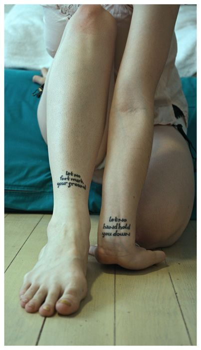 'let no foot mark your ground - let no hand hold you down' // really cool placement